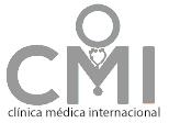 Logotipo de la Clínica Médica Internacional en color gris.